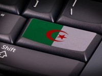 Flag on button keyboard, flag of Algeria