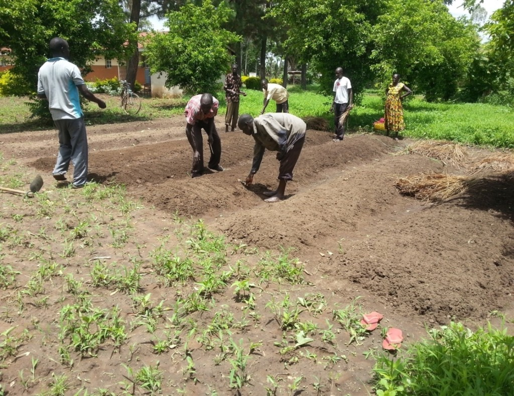 Accompanied by teachers Mr Otiti Patrick, community members take ICT lessons to the garden.