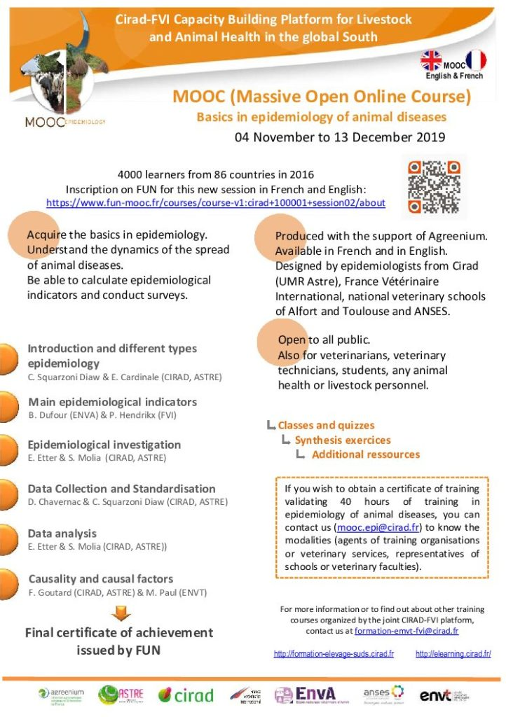 "Open! 2nd Session MOOC ""Basics in Epidemiology of Animal and Zoonotic Diseases"""